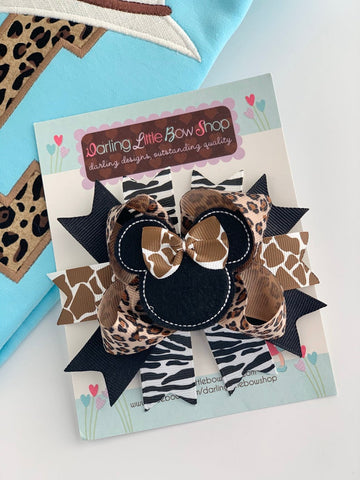 Miss Mouse Bow - Leopard Print Animal Kingdom theme hairbow - Darling Little Bow Shop - Darling Little Bow Shop