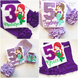 Mermaid Birthday Shirt or bodysuit for girls ANY AGE - Darling Little Bow Shop
