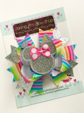 Miss Mouse Bow in bright rainbow colors and silver - Darling Little Bow Shop