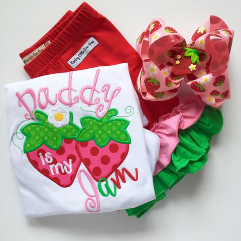 Daddy is my Jam Strawberry shirt, tank top or bodysuit for girls - Darling Little Bow Shop