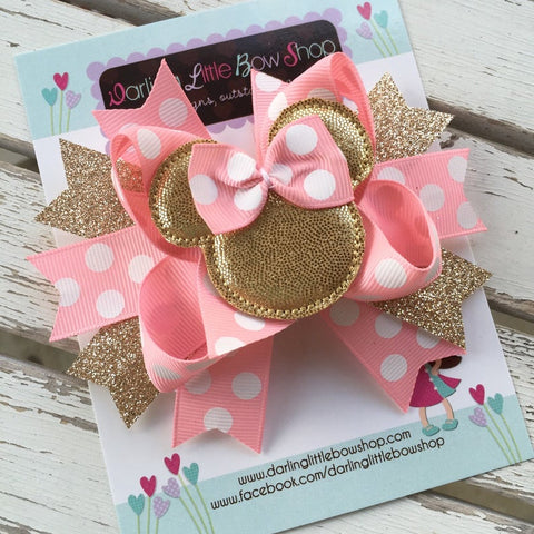 Miss Mouse Bow in pink and gold - Darling Little Bow Shop