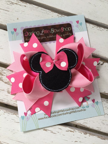 Miss Mouse Bow in pink, hot pink and black - Darling Little Bow Shop