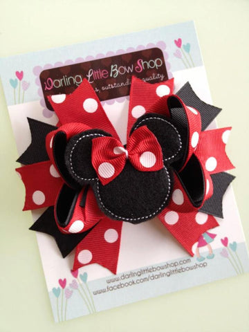 Miss Mouse Bow in red and black - Darling Little Bow Shop