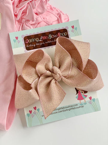 Pink and Gold Ribbon bow, choose single layer or double stacked - Darling Little Bow Shop