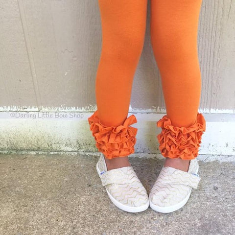 Pumpkin Orange Icing Leggings - size NB to 12 - Darling Little Bow Shop