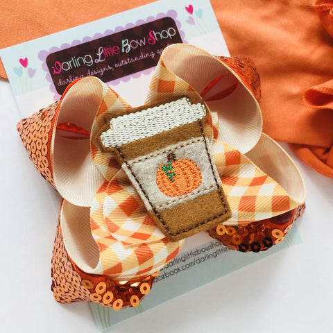 Pumpkin Spice Latte bow - Darling Little Bow Shop