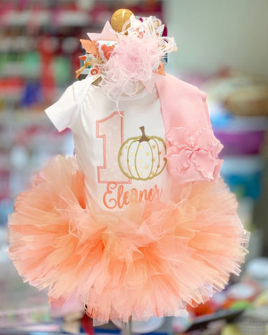 Pumpkin First birthday Tutu outfit in pink, peach and gold - Darling Little Bow Shop