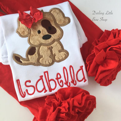 Puppy shirt or bodysuit for girls, sweet spotted puppy with a red name - Darling Little Bow Shop