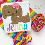 Dachsund shirt or bodysuit for girls, sweet puppy with a rainbow name - Darling Little Bow Shop