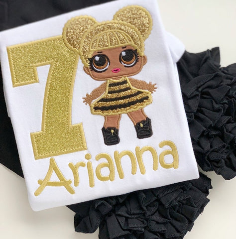 Queen Bee Doll Birthday Shirt for girls - Darling Little Bow Shop