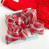 "Red and Aqua bow -- 6"" plaid bow for summer - Darling Little Bow Shop"