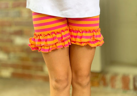Summer Sherbert Shorties - hot pink and orange striped ruffle shorts - Darling Little Bow Shop