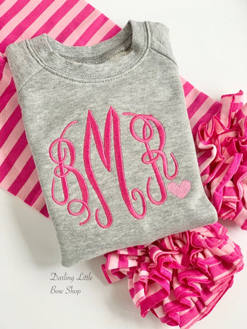 Monogrammed Sweatshirt for toddlers and girls - Sweetheart Sweatshirt - gray, hot pink and pink heart accent -- great for Valentines Day - Darling Little Bow Shop
