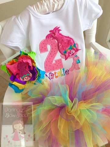 Trolls Birthday tutu outfit - Any Age - Darling Little Bow Shop