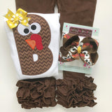 Thanksgiving bodysuit or shirt for girls -- Turkey Face Alphabet - Darling Little Bow Shop