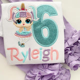 Unicorn Doll Birthday Shirt or bodysuit for girls in pastel colors - Darling Little Bow Shop
