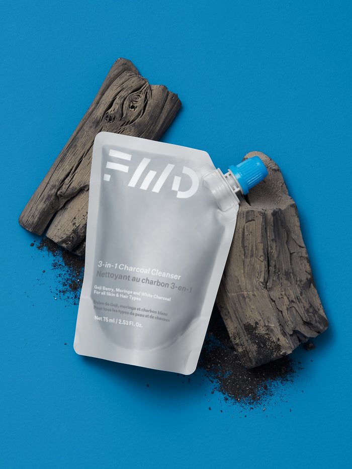 3-in-1 Charcoal Cleanser for Face, Body & Hair - 75ml Travel Friendly Pouch