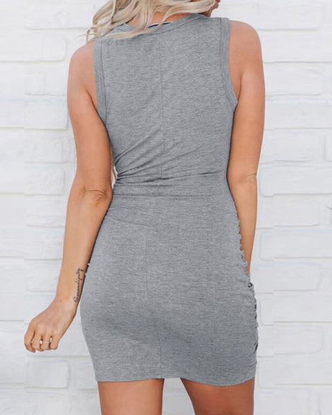 Sleeveless Cutout Twisted Ruched Dress