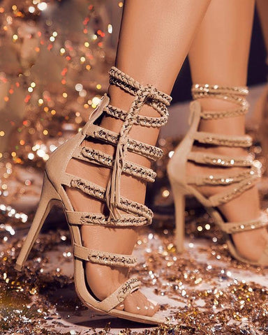 Glittering Bandage Lace-up Thin Heeled Sandals
