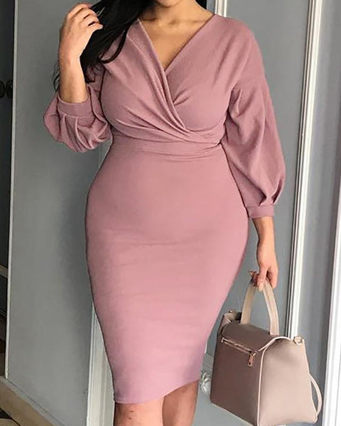 Lantern Sleeve Ruched Bodycon Dress