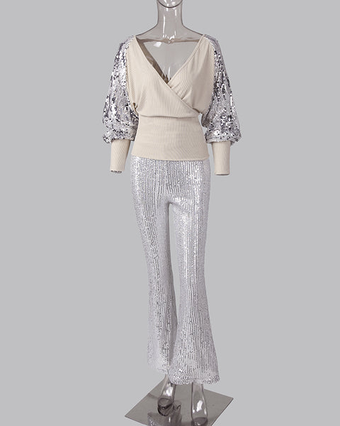 Sequined V Neck Top & Pants Set