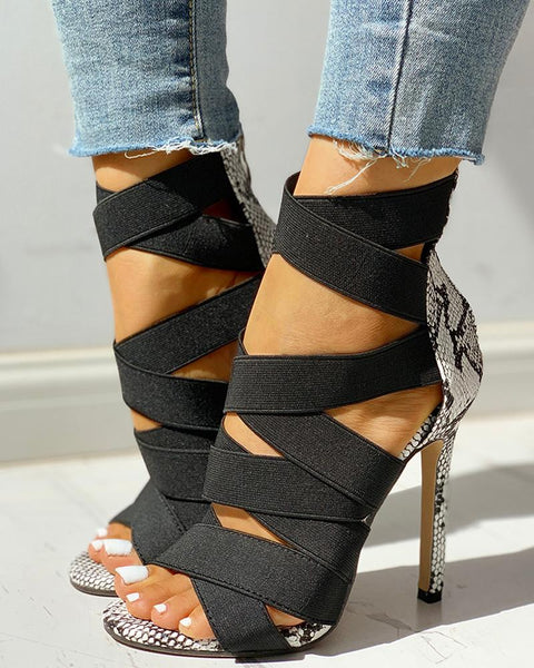 Lace-Up Bandage Patchwork Snakeskin Thin Heeled Sandals
