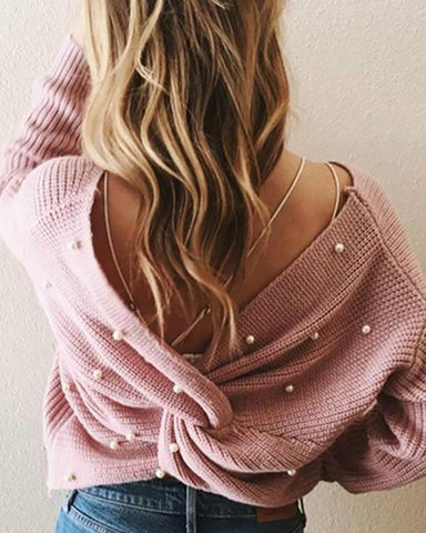 Beaded Twisted Design Knitting Sweater