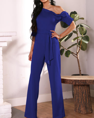 Solid One Shoulder Tied Waist Flared Jumpsuit