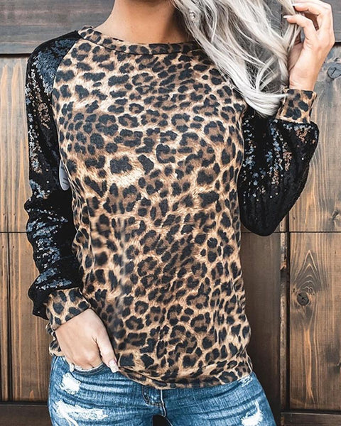 Splicing Leopard And Sequin Long Sleeve Blouse