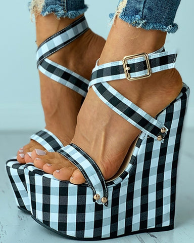 Plaid Colorblock Buckled Wedge Sandals