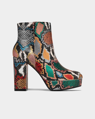 Snakeskin Round-toe Block Ankle Boots