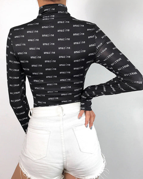 Letter Printing Long Sleeve Bodysuit