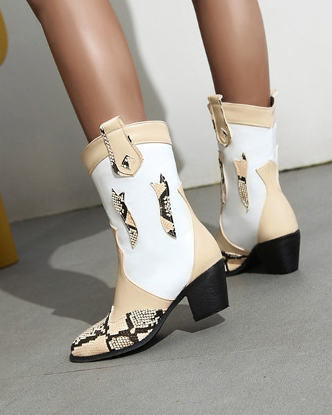 Snakeskin Patchwork Pointed-toe Western Boots