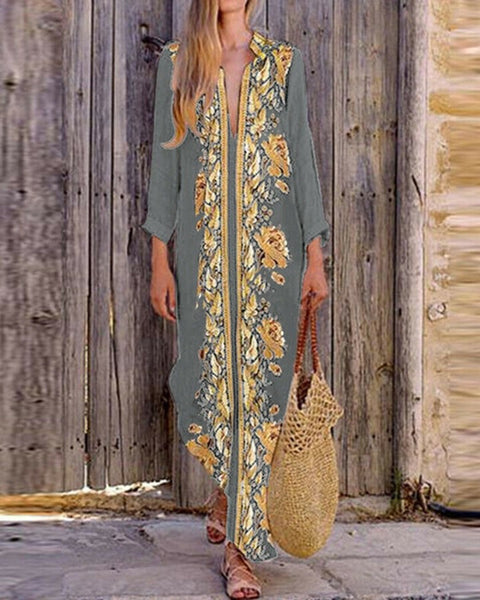 Floral Patch Long Sleeve Loose Long Dress