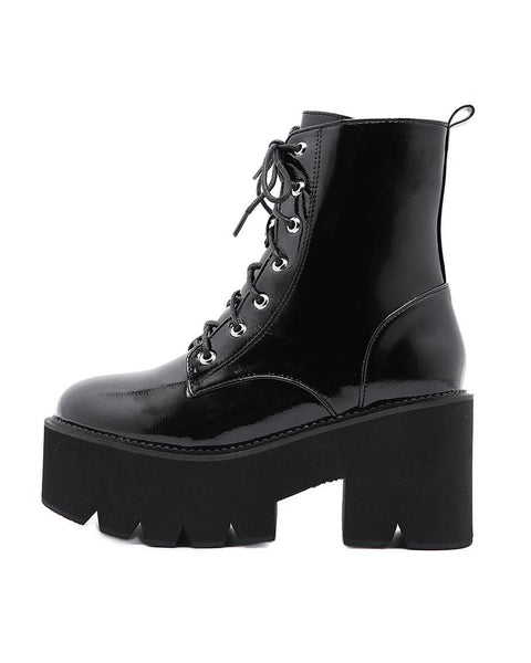 Lace-up Solid Color Round-toe Platform Martin Boots