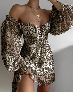 Off Shoulder Cheetah Print Lantern Sleeve Dress