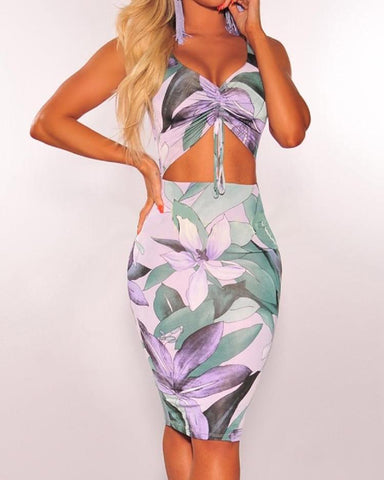 Floral Print Cut Out Scrunched Bodycon Dress