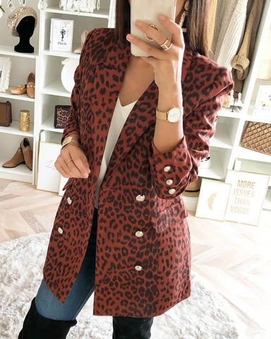 Leopard Notched Collar Double-breasted Blazer