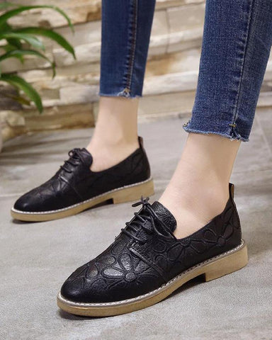 Solid Carved Lace-Up Sneakers