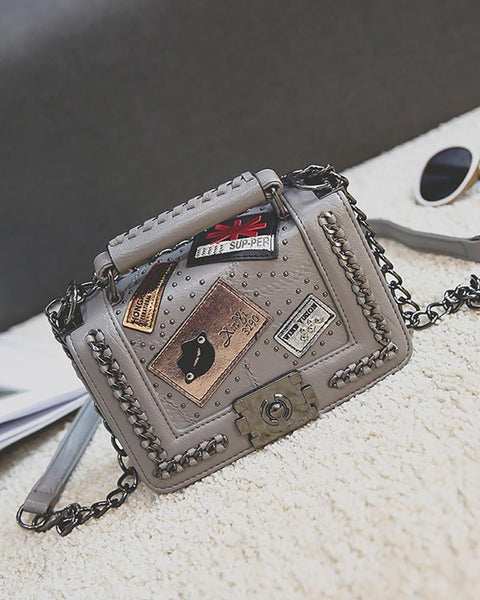 Graphic Pattern Chain Decor Satchel Bag