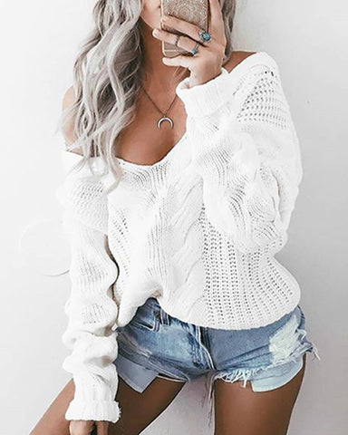 Solid Long Sleeve Knit Casual Sweater