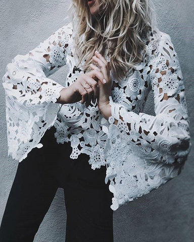 Hollow Out Lace Flare Sleeve Casual Blouse