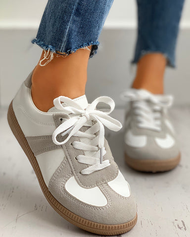 Retro Suede Colorblok Lace-Up Sneakers