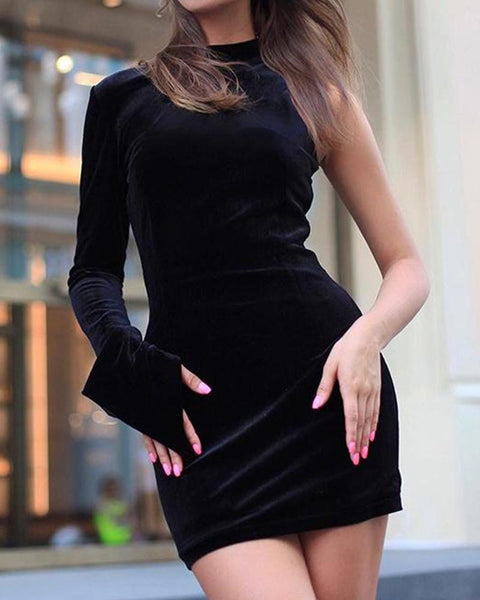 One Shoulder Zip Back Dress
