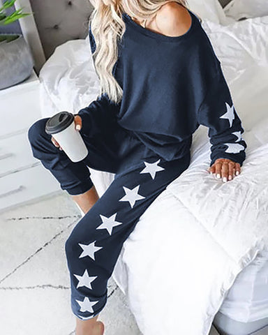 Star Print Top & Pants Pajamas Sets