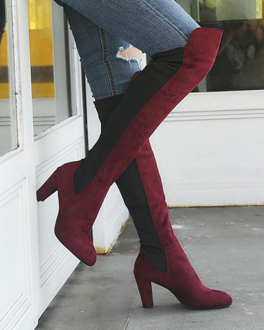 Two-Tone Over The Knee Zip Boots