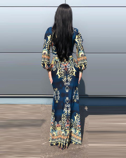Tribal Print Plunge Mermaid Dress With Mask