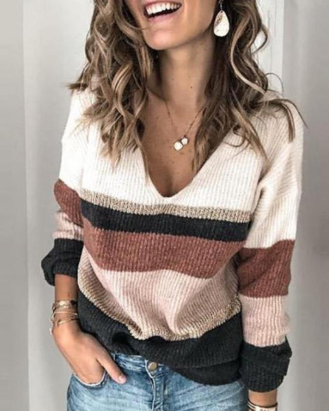 Colorblock Long Sleeve Loose Sweater