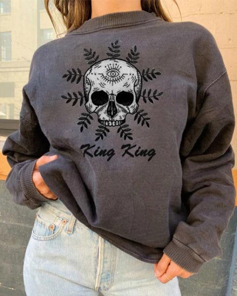 Skull Printing Long Sleeve Sweatshirt