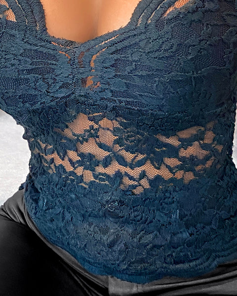 Sheer Mesh Lace Skinny Blouse